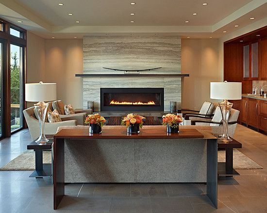 I like the use of stone in this fireplace. Modern Fireplace Mantel Design,  Pictures