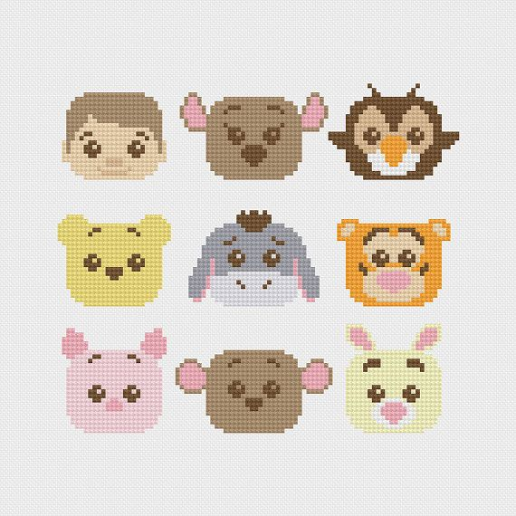 Winnie the Pooh (Christopher Robin, Kanga, Owl, Pooh Bear, Eeyore, Tigger, Piglet, Roo, Rabbit) inspired cross stitch pattern PDF instant download includes: Full color, easy-to-read PDF charts with color symbols and DMC thread legend Bonus: Cross-stitching Basics PDF Pattern Details: Fabric: Aida 14 ct Grid Size: 98W x 86H Design Area: 6.57 x 5.71 (92 x 80 stitches) DMC Colors: 12 ________________________________ * Please note that these characters are about an inch taller than many of my…