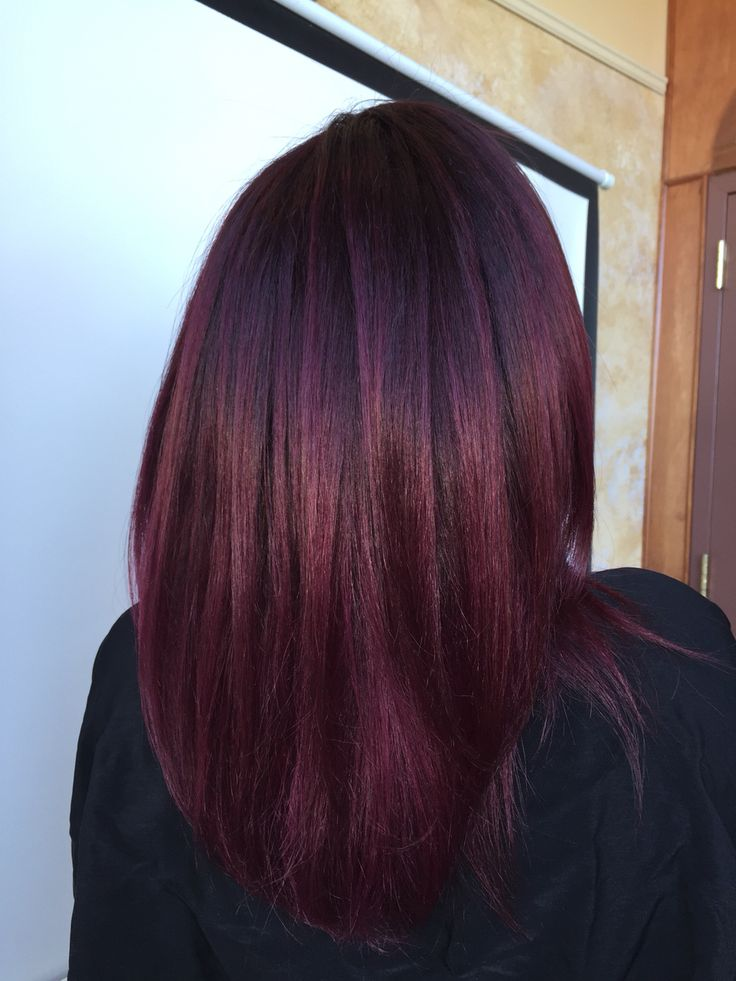 Dark violet base with Merlot color melt balayage Andrea@profilo #profilodayspa