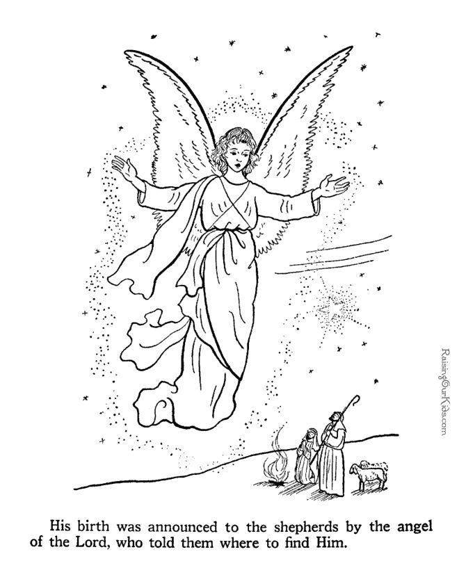 Angel speaks to shepherds