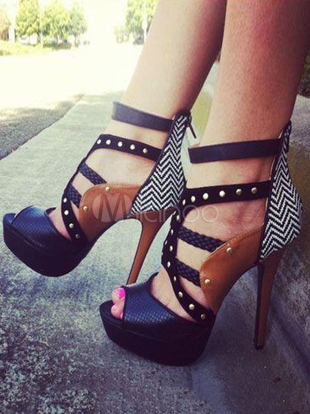 92741c9451 Black Sandal Shoes Stiletto Heel Peep Toe Color Block Rivets Sandals For  Women