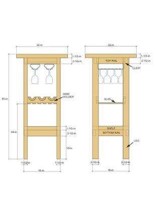 Barmeubel om zelf te maken, bouwtekening voor een minibar met wijnrek en glazenhouders.