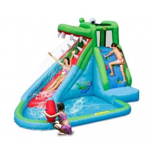 The Amazin new Crocodile Creek 11.5ft Inflatable waterslide combines a gruelling fierce crocodile slide design with a paddling pool and water cannon for added fun.