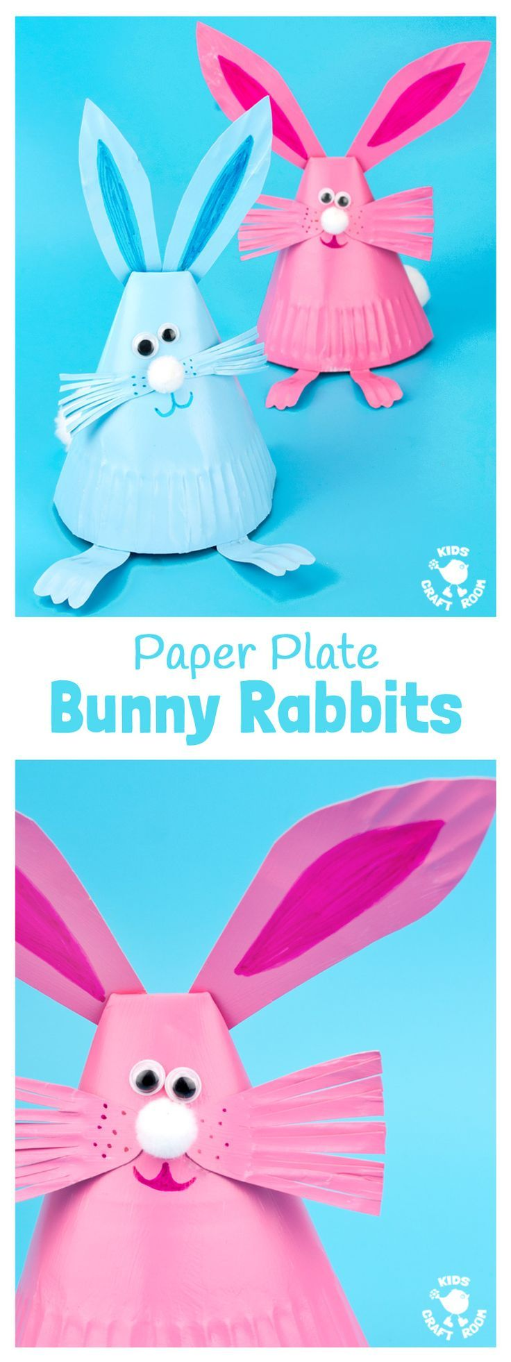 This Paper Plate Rabbit Craft is a super Easter craft or Spring craft for kids. Whether you make them as an Easter bunny craft or for everyday, these cute bouncing bunnies are so much fun!