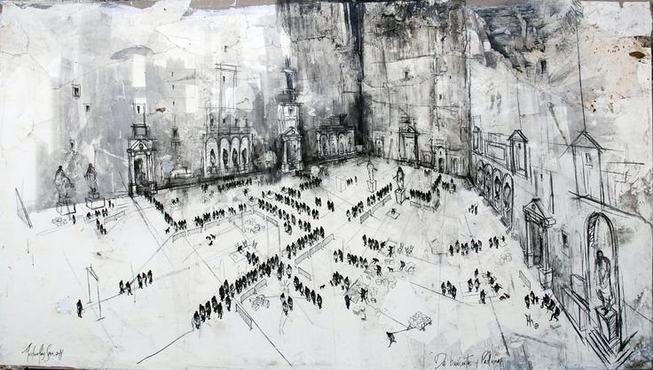 Gustavo Diaz Sosa - Serie de burocratas y padrinos - mixed media on canvas - 115x200 cm - www.victorlope.com