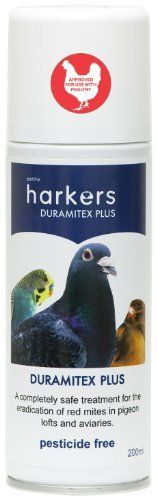 Harkers Duramitex Plus is a safe and natural treatment specially formulated for birds to eliminate red mites in pigeon lofts and aviaries. p The formula is an efficient and speedy treatment removing...