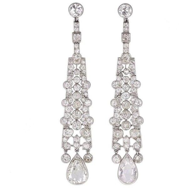 Art Deco Cartier Diamond Platinum Drop Earrings ❤ liked on Polyvore featuring jewelry, earrings, platinum diamond earrings, platinum earrings, diamond jewellery, diamond drop earrings and diamond jewelry