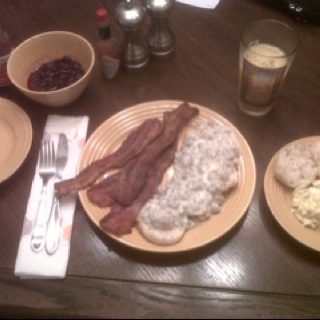L to R on your e-device -- Syrup'd Berries, Brown Sugar Baked Bacon, Whole Milk Biscuits & Gravy, Orange Juice with Some Pulp, Bleu Cheese Scrambled Eggs