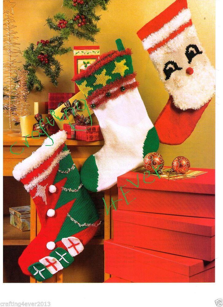 "CHRISTMAS -""SANTAS"" SANTA STOCKINGS SET OF 3 -GR8 4 GIFT 26 CMS-KNITTING PATTERN"
