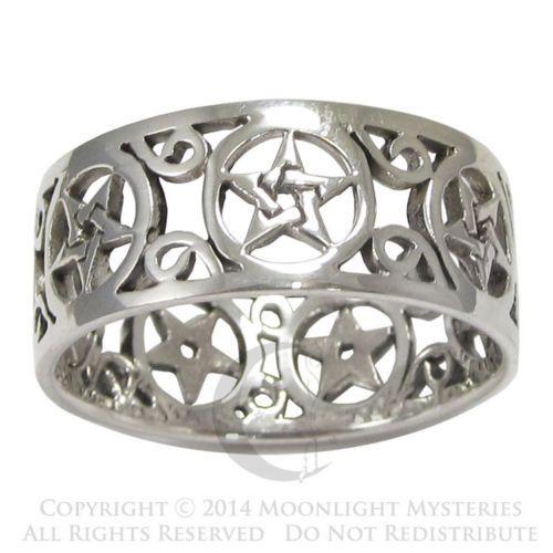 Sterling Silver Wide Filigree Pentacle Pentagram Wiccan Pagan Band Ring Sz 4 15   eBay