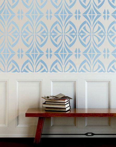Wand Schablone modernen look geometrische Muster Wand Zimmer Dekor war durch OMG Schablonen Verbesserungen Farbe Gemälde 0072