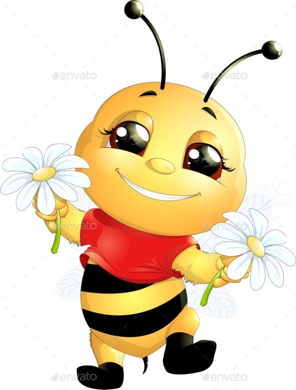 Bee On A White Background Cartoon Bee Bee Pictures Bee Drawing