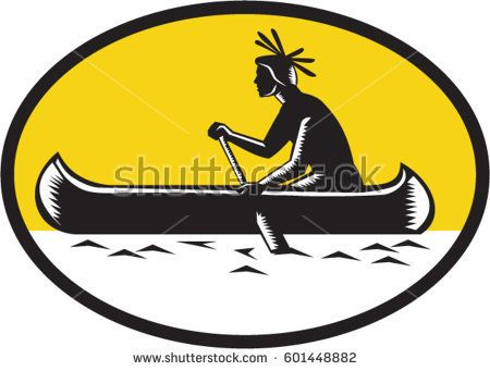Illustration of a native american indian paddling a canoe viewed from the side set inside oval shape done in retro woodcut style.   #canoe #woodcut #illustration