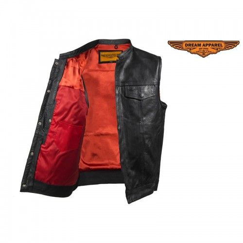 Men's Leather Club Vest with Concealed Carry Gun Pockets Red Liner - Starting at only $59.99
