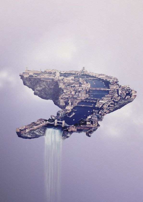 Real Cities Become Floating Islands in the Sky