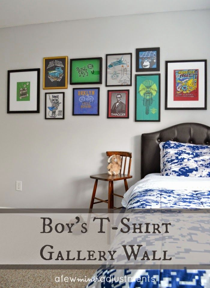 Boy's T-Shirt Wall Gallery....super easy art for any bedroom. {A Few Miner Adjustments}