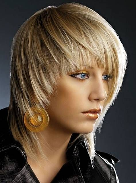 Cute edgy medium hairstyle with bangs