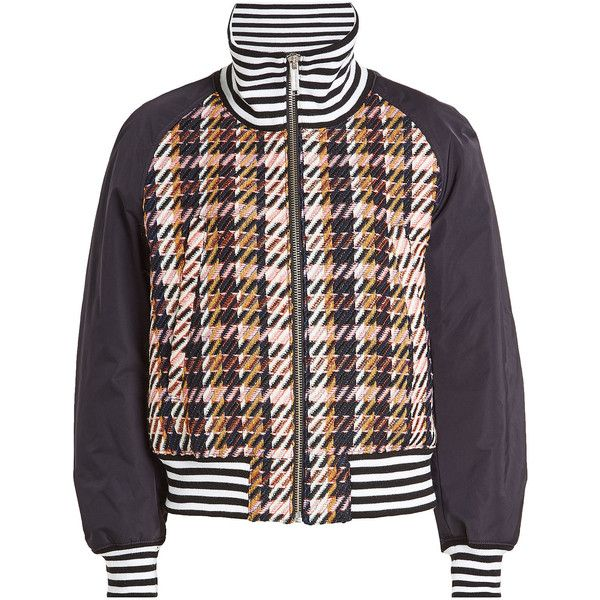 Public School Jacket (13.803.780 IDR) ❤ liked on Polyvore featuring outerwear, jackets, multicolored, striped jacket, style bomber jacket, bomber jackets, patterned bomber jacket and print jacket