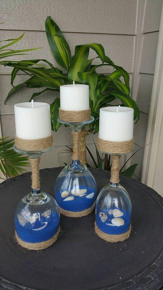 Seashell en zand wijnglas Kaarsenbakjes Set van 3
