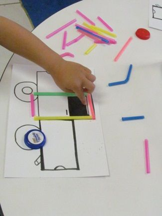 Cards with simple pictures on them and a box with different size/colored straws. Let kids decide how to play. They can outline the shape or fill it in or whatever they choose! Clever and easy.