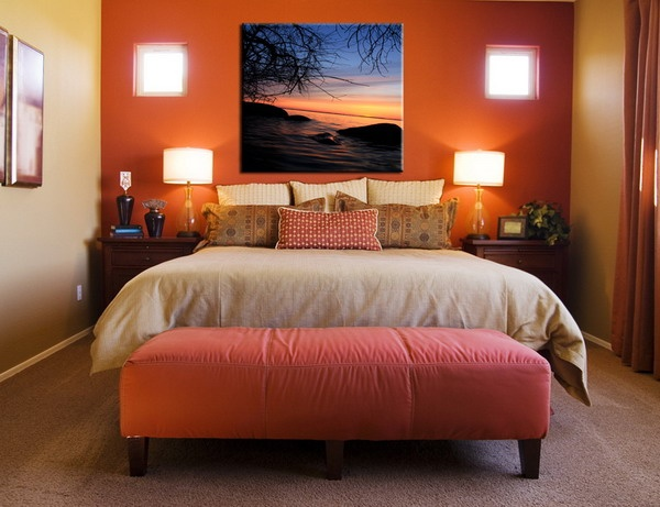 Dark orange accent wall in bedroom bedroom colors for Burnt orange bedroom ideas