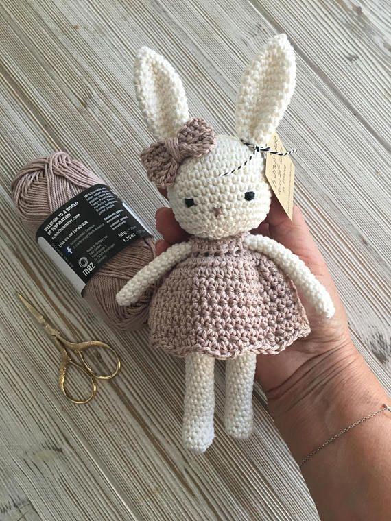 Lovely amigurumi animal bunny girl with lovely dress, hand crochet soft cuddly t…