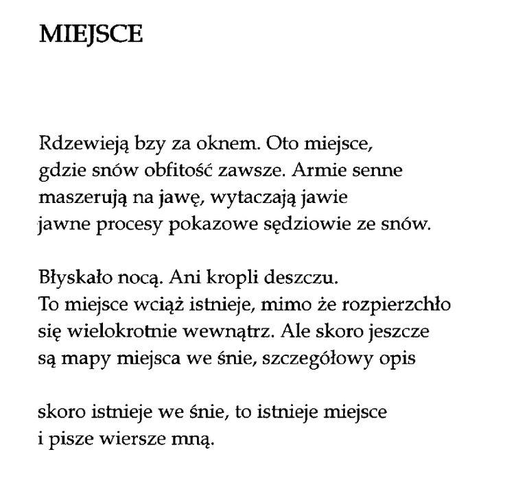 """""""Miejsce""""  Marcin Świetlicki"""