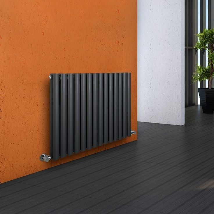 Milano Aruba - Luxury Anthracite Horizontal Designer Double Radiator 635mm x 834mm - Grey Anthracite Horizontal Designer Radiator in orange hallway