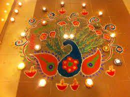 Amazing peacock rangoli design