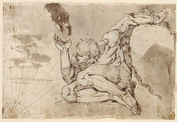 Johann Heinrich Füssli – Prometheus, 1770-71, pen og blæk på papir, 150 x 222 mm |  Kunstmuseum Basel, Kupferstichkabinett