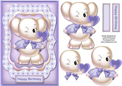 Cute Elephant In Lilac Card Front on Craftsuprint designed by Judith Mary Howells - Sized to fit an A5 card, a really cute elephant holding a heart in its trunk and winking in a shaped frame. Decoupage pieces and a blank greeting plate are included. - Now available for download!