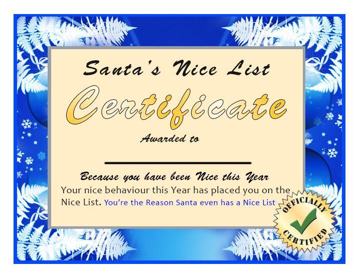 82 best places to visit images on pinterest certificate nice santa nice list certificates santa claus nice list yadclub Gallery