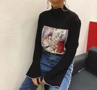 2017 cartoon glocke flare hülse t bluse frauen tops herbst winter kawaii t-shirt frau hemd bluse camiseta feminina