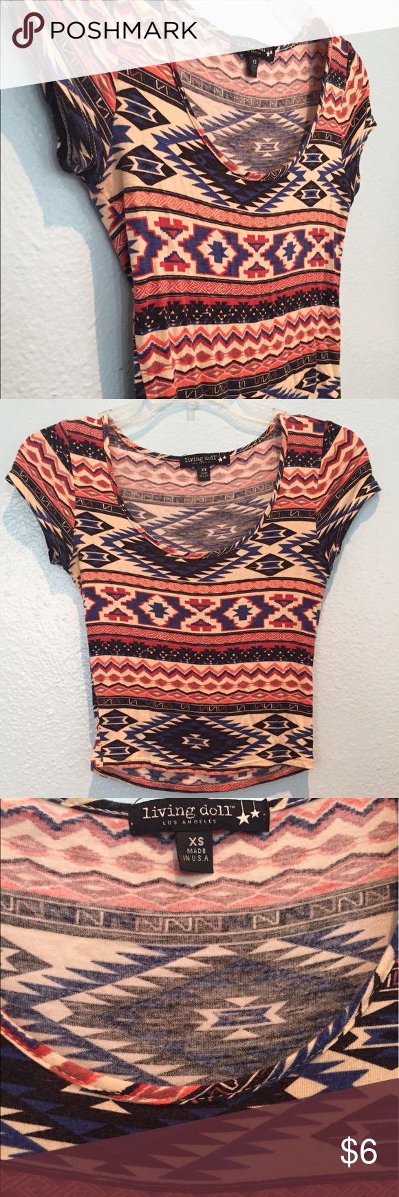 Aztec Crop Top Cute and soft Aztec Crop trip from Belk. Perfect for a summer party! Crop top is longer and comes down to the belly button Tops Crop Tops