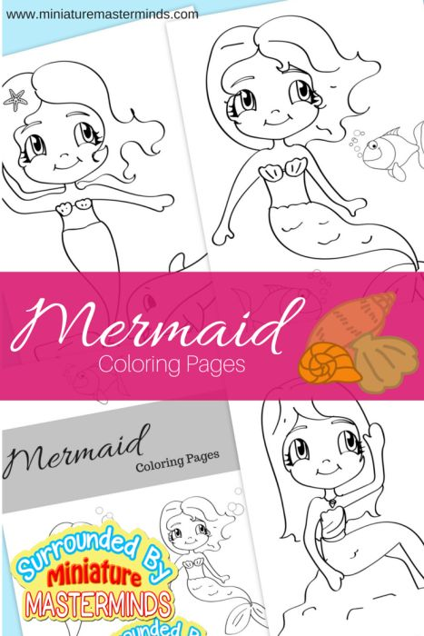 Three Free Printable Mermaid Coloring