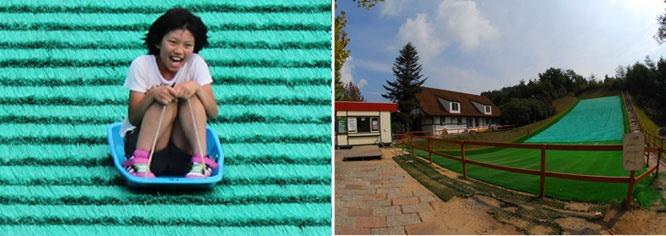 Okayama|岡山(おかやま)|岡山農業公園 ドイツの森|芝すべりゲレンデ| 特大ゲレンデの芝すべりを思う存分楽しもう! ドイツの森に「芝すべり」が登場! 全長32mの超特大ゲレンデで遊具券を使ってガンガンすべろう! 専用のそりを無料にて貸出しています。  ■ご利用条件  4才以上(3才以下は保護者同伴)  ■料金  20分/300円   ※回数券利用可能