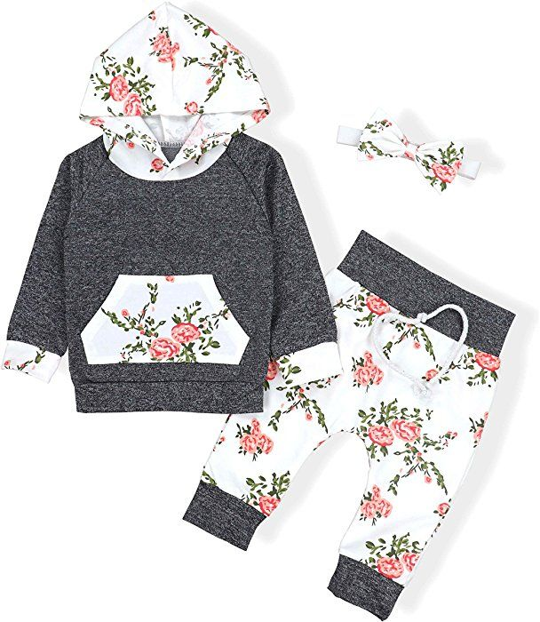 US Toddler Infant Baby Girl Hooded Outfits Long Sleeve Tops Pants Clothes Set