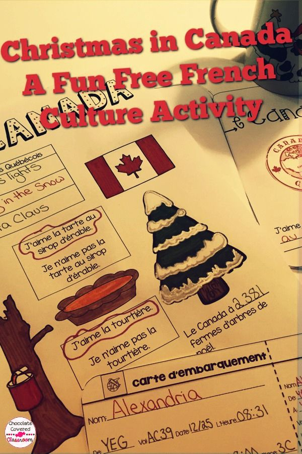 FREEBIE - Have your French as a Second Language class travel to Quebec to learn about their holiday traditions! Complete with a scrapbook page, snack ideas and a craft!