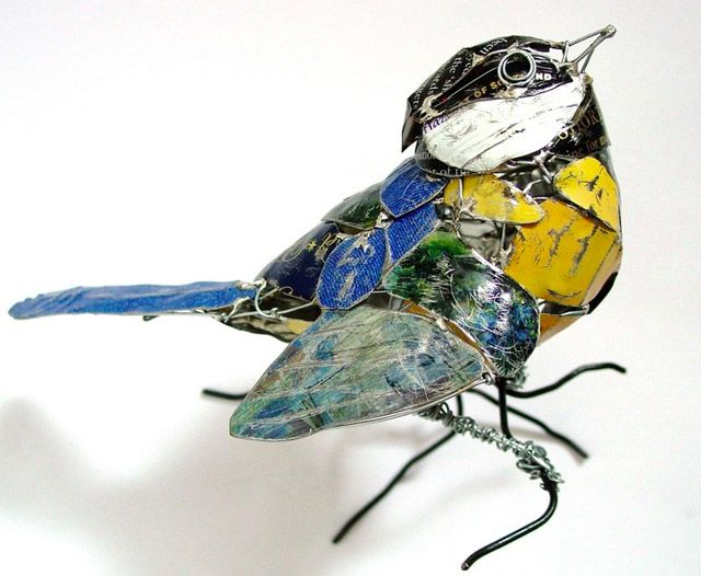 Birds Made from Recycled Metal Scraps by Barbara Franc.  Inspired by the forms of animals artist Barbara Franc seeks to capture a sense of motion as she recreates a variety of wildlife from birds to horses using reclaimed materials such as old food tins.
