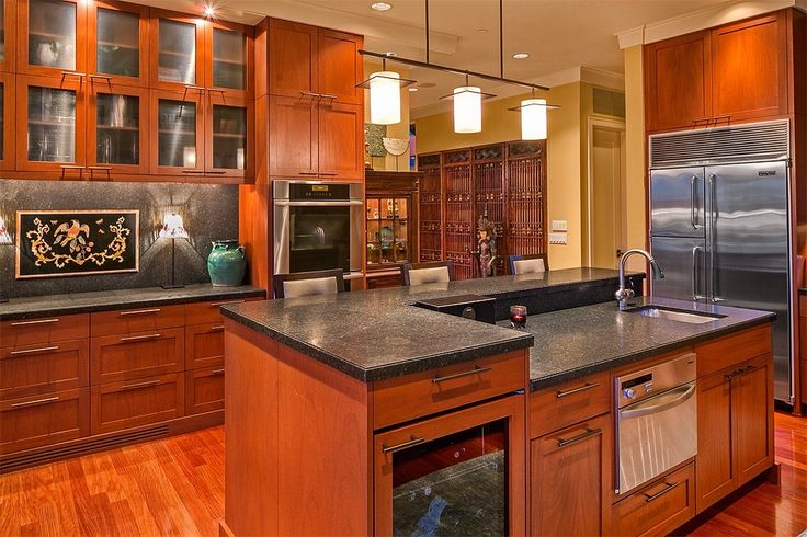 Asian Kitchen with Simple Granite, Hardwood floors, MS International Impala Black Granite Countertop, Undermount sink, Flush
