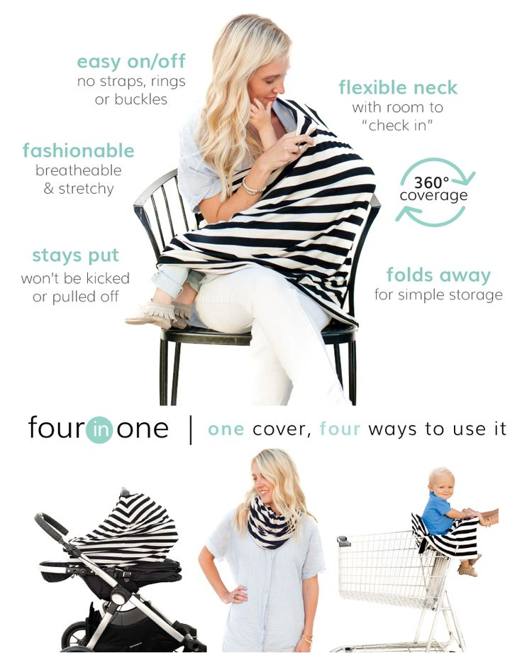 Our original multi-use nursing cover provides full 360º coverage & converts into a car seat cover, scarf, and shopping cart cover for one easy to use product!