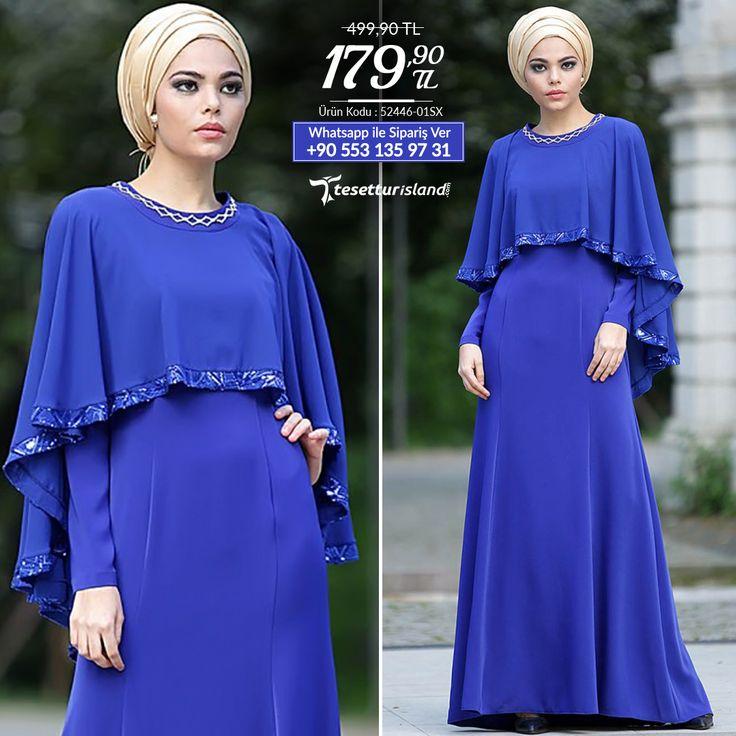 Nayla Collection - Pelerinli Sax Mavi Elbise #tesettur #tesetturabiye #tesetturgiyim #tesetturelbise #tesetturabiyeelbise #kapalıgiyim #kapalıabiyemodelleri #şıktesetturabiyeelbise #kışlıkgiyim #tunik #tesetturtunik