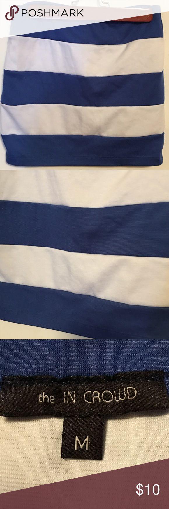 Royal blue and White striped Mini Skirt Royal blue and white striped mini skirt. Size medium. Excellent condition. Skirts Mini