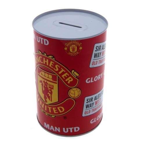 MANCHESTER UNITED Metal Money Box in club colours and featuring the club crest. Approx 15 cm x 10 cm x 10 cm. Official Licensed Manchester United money box. PRICE INCLUDES DELIVERY