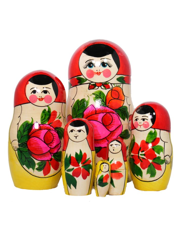 Russian matryoshka set with 7 nesting dolls with rose decoration