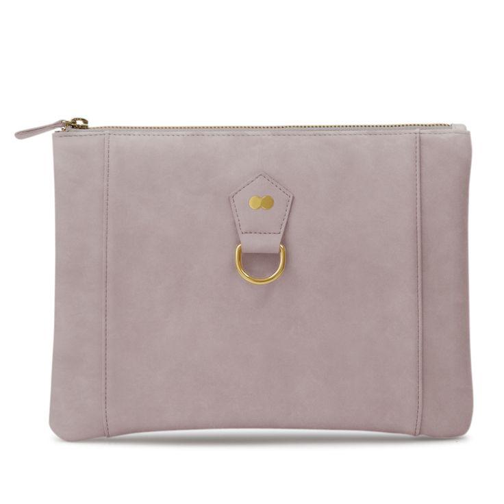 VIVIAN Clutch Nubuk Taupe | Project OONA Luxus Handtaschen Made in Germany