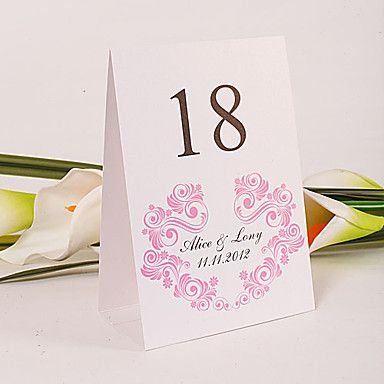 Personalized Standing Table Number Card - Pink Flourishes (Set of 10) - USD $ 11.69