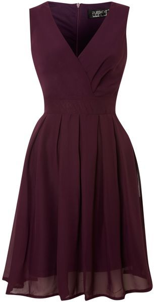 Pussycat Purple Chiffon Vneck Wrap Dress \…
