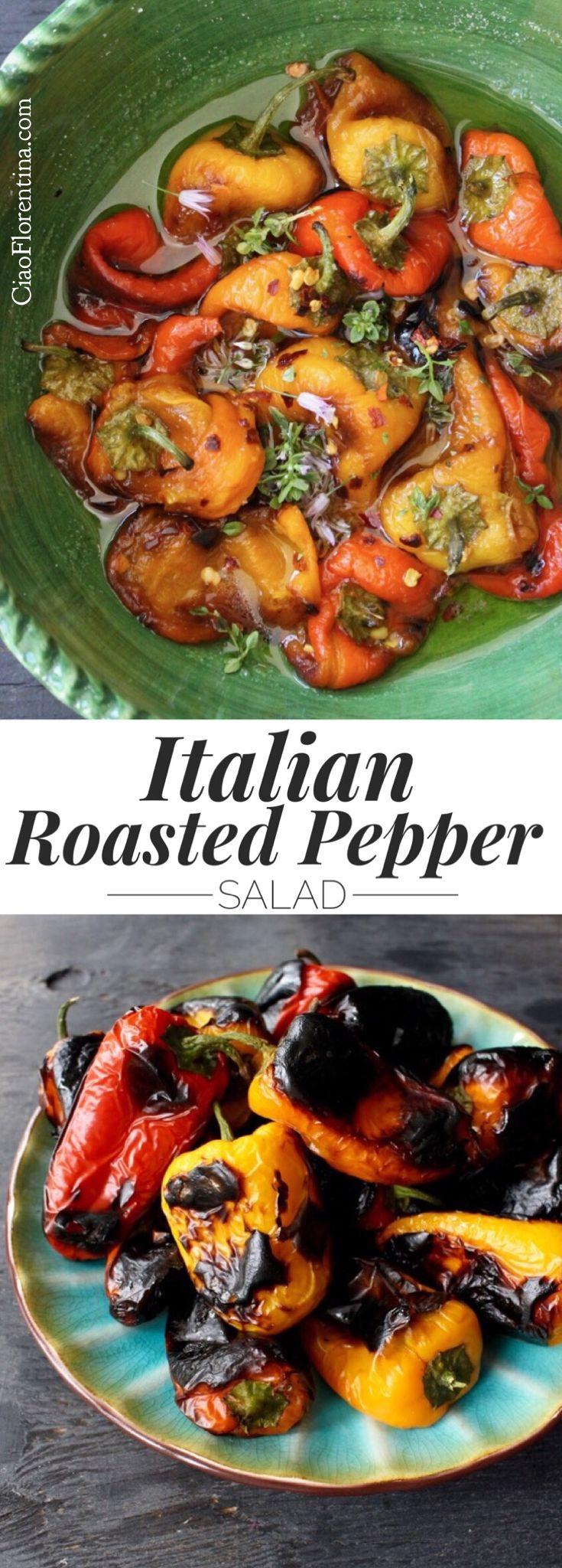 Italian Roasted Pepper Salad Recipe with Italian Dressing and Herbs | CiaoFlorentina.com @CiaoFlorentina