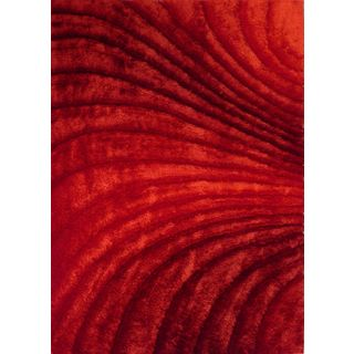 Modern 3D Zen Design Crimson Red Hand Tufted Polyester Rectangular Shag  Area Rug (5u0027 X 7u0027)